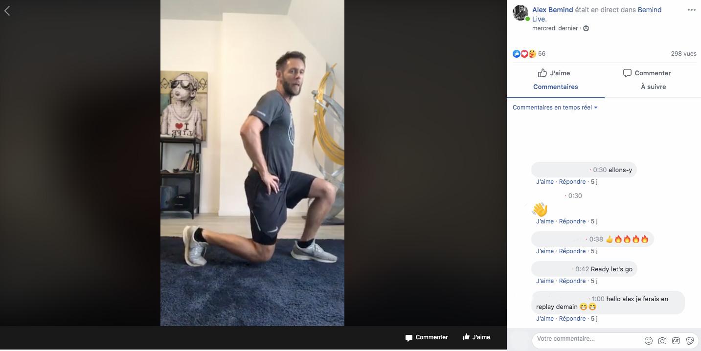 coach sportif en ligne, live facebook